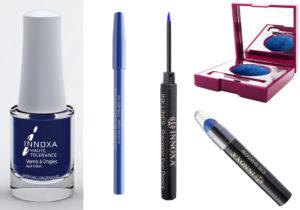 Blu brillante e profondo è il colore-tema del make-up di Innoxa con smalto Vernis à Ongles, eyeliner pencil e ink liner di precisione, ombretto e matita eyeshadow