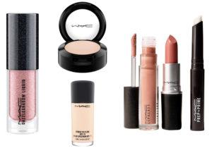 Make up di Mac con il kit per il trucco di primavera, da Studio Fix Fluid fondotinta protettivo, Dazzleshadow liquid, primer, lippa gloss e lipstick, correttori e fard