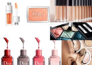 Christian Dior make-up con Coral lip gloss, Fard e Powder da mettere dopo i fondotinta delicati e a lunga tenuta, color palette di ombretti e di smalti di stagione