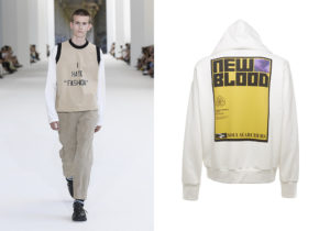 Maglia-top 'I hate Fashion' e pantaloni di Sunnei / Felpa 'New Blood' di Frankie Morello