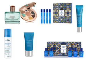 Bronze Goddess Azur Collection by Shiseido (make-up and parfum) / Acqua Di Parma + LaDoubleJ parfum collection / Creme Fraiche en Baume Trattamento Idratante Express di Nuxe / Dolomia Fluido Defaticante e Ossigenante e Crema Contorno Occhi anti-fatica