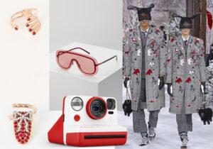 Bijoux Vivetta made by Chimera Gold / montatura Emporio Armani vista su Zalando / fotocamera Polaroid Now red / looks Thom Browne