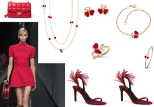 Borsa Michael Kors / abito Versace / parure bijoux Happy Hearts Wings by Chopard / sandali Giuseppe Zanotti /