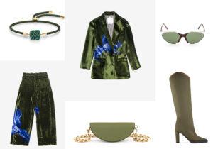 Bracciale Swarovski / pantaloni e giacca Mantero / borsa Salar / occhiali Sportmax by Marcolin / stivali Malone Souliers /