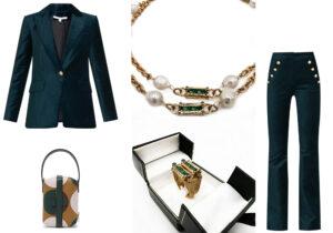 Giacca e pantalone Veronica Beard / maglia greca e anello di Bona Tondinelli / borsa LaDoubleJ x Valextra /