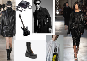 Look Junn J. - sintetizzatore Akai - chitarra Scarpellini - boots Maison Martin Margiela - look Les Hommes by Marcelo Burlon - look Fred Perry x Raf Simons - look N.21