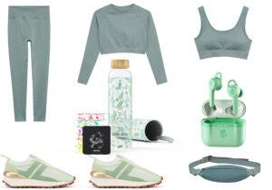 Leggings, felpa, bra e marsupio Mango Active - sneakers Lanvin - clean bottle Waterdrops - cuffie Indy Evo 'pure mint'