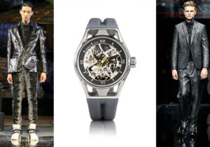 Total look Philipp Plein / orologio Monte Skeleton grey / total look Emporio Armani /