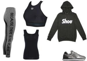 Leggings Ecoalf - top bra Arena - canotta Cotonella Purity - felpa Shoe - sneakers New Balance