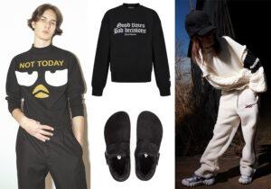 Total look Alessandro Enriquez - felpa Juicy Couture - ciabattine Birkenstock modello unisex - total look Onitsuka Tiger