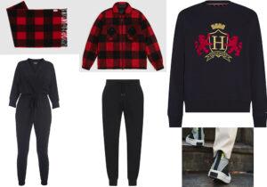 Sciarpa e shirt-jacket Woolrich - tuta firmata Chiara Boni Collezione Leisure - pantaloni Canali Black Edition - felpa Tommy Hilfiger - scarpe Converse