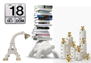 Calendario di Danese su Design Republic / lampada 'Paris XL' by Studio Job x Qeeboo / Turtle carry bookcase by Marcantonio x Qeeboo / 'Toys' made by Kartell