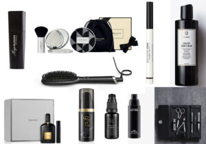 That'so magic blander / Jo Malone powder Christmas box / liquid eyeliner by Artistry Studio / Chillout shower gel e set manicure di Womo / Tom Ford 'Black Orchid' parfum / GHD finish serum e spazzola haistyle / crema occhi Maison Bio / Prep and Prime Mac visto su Zalando Beauty /