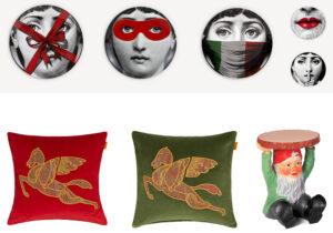 Piatti 'Tema e Variazioni' di Fornasetti / cuscini Etro Home / Gnomo di Kartell su Design Republic /