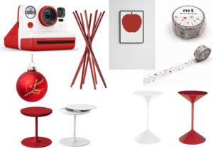 Polaroid Now / palle di Natale made by Giuseppe Zanotti / appendiabiti 'Shanghai', tavolini 'Roi' e sgabelli 'Tempo' di Zanotta / quadretto 'La Mela' di Danese / nastro adesivo 'Snowman' di Masking Tape /